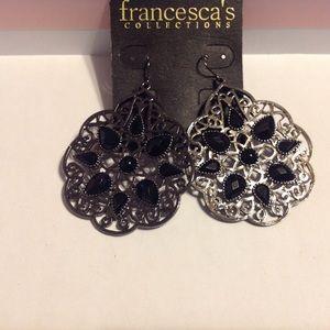 Francesca's Charcoal Tone Black Beads Earrings